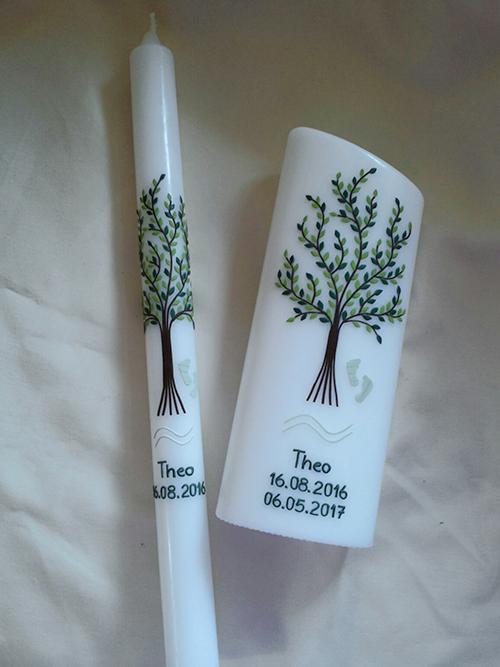 Taufkerze Tischkerze Lebensbaum grün
