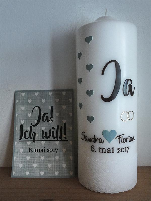 """Hochzeitskerze """"ja"""" nach Einladung"""