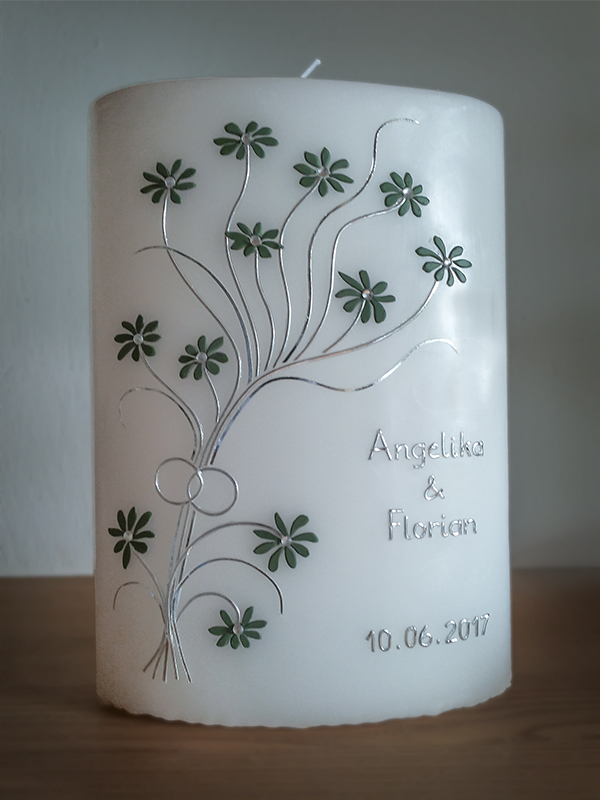 Hochzeitskerze individuell Blüten