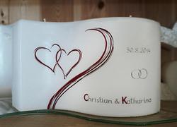 Hochzeitskerze klassik mit Herzen