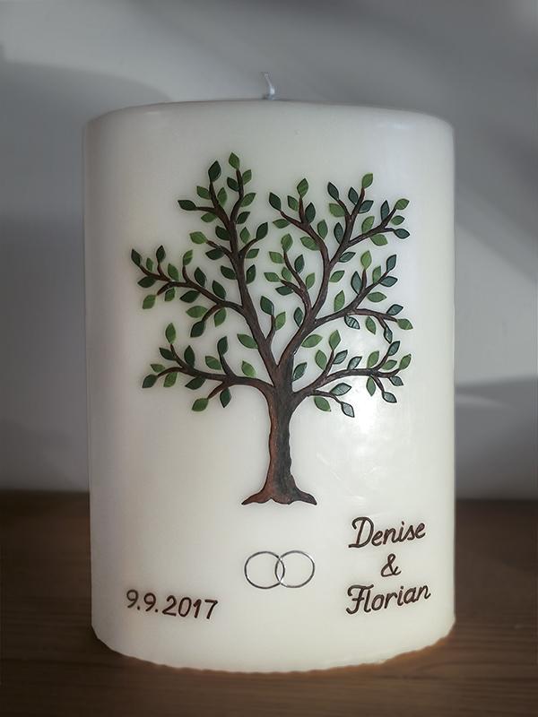 Hochzeitskerze Stumpen Lebensbaum