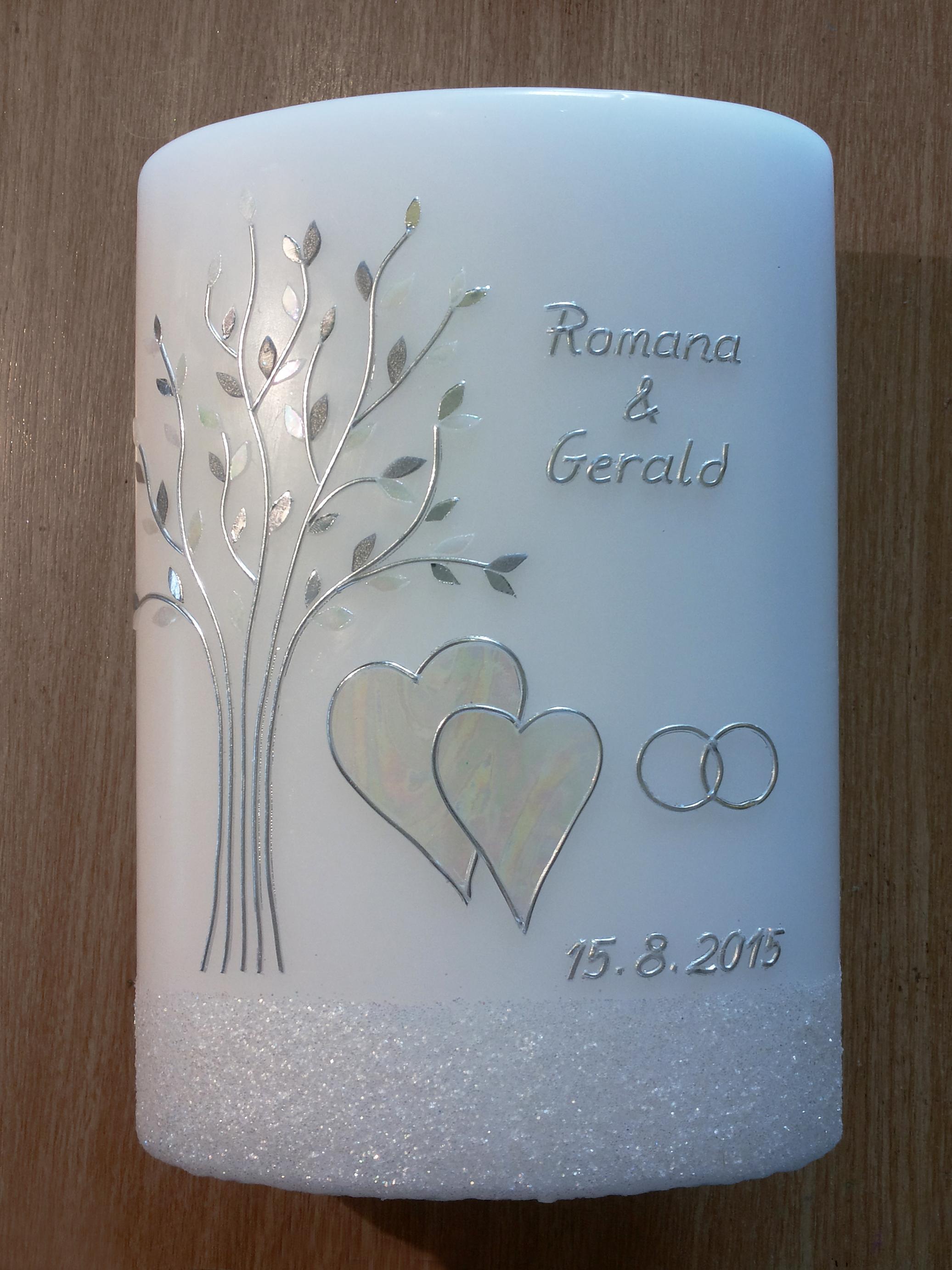 romantische Hochzeitskerze