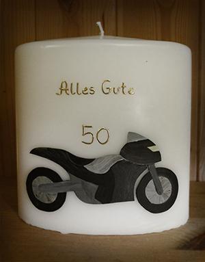 Geburtstagskerze mit Motorrad