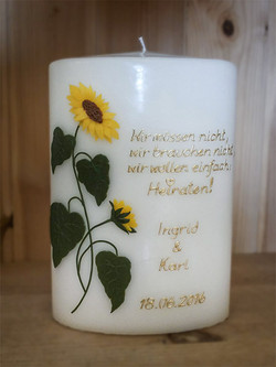 Hochzeitskerze Sonnenblumen Spruch