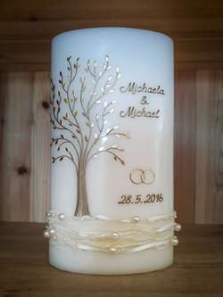 Hochzeitskerze Lebensbaum gold