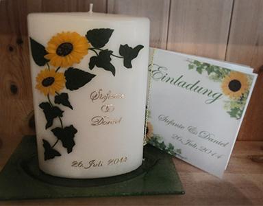 Hochzeitskerze mit Sonnenblume