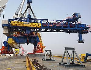Ship loader on crane