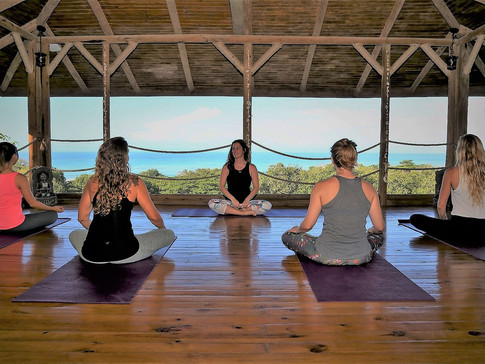 Class on the Yoga Deck Overlooking the Ocean