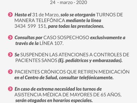 """Covid-19   Medidas en el Centro de Salud Municipal """"Eva Perón"""""""