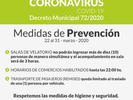 Covid-19   Decreto 72/2020   Medidas de prevención para comercios, remises y sepelios