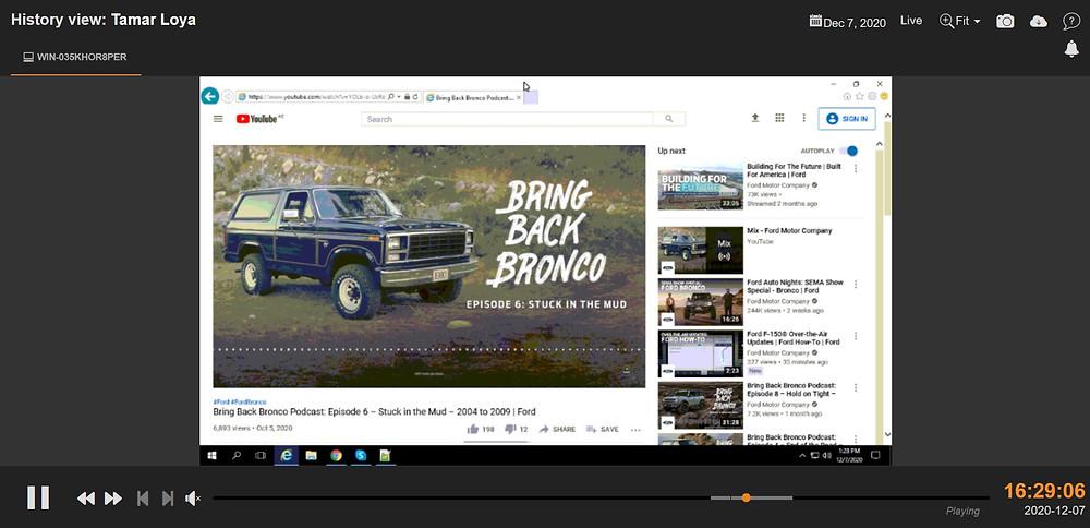 デモサイトより。従業員のPCの動きをビデオで撮影。