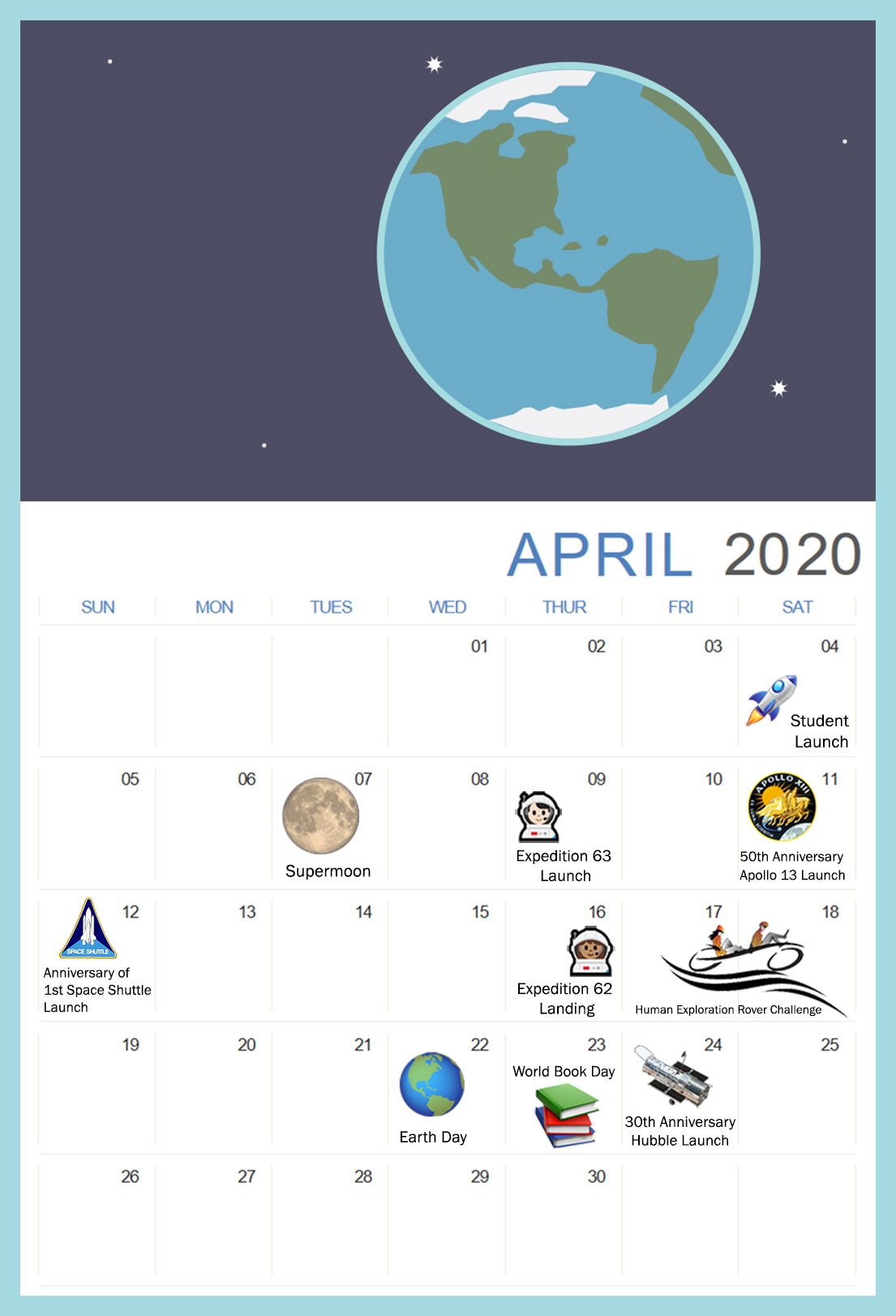 NASA Educator Resource we LOVE  You Can Plan-et STEM Resourcescalendar_april2020