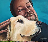 Beloved Painting, man, dog, lab, paint, portrait, pet, love, Cassie, Wright, artistexas, painting, with, a twist, texas, dallas, fort, worth, portrait, artwork