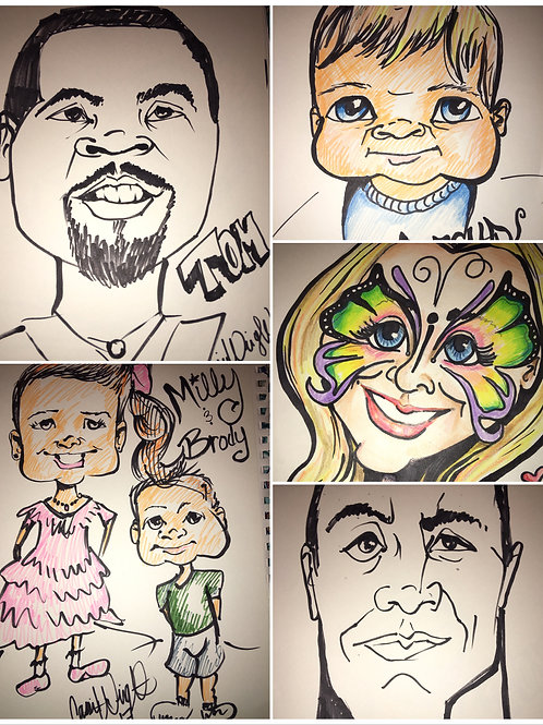 2 people in color caricature