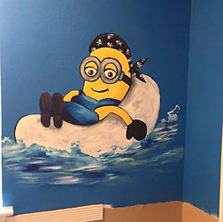 Mural, Minion, Pirate, Painting, custom,