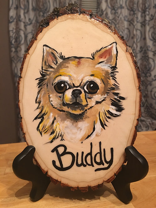 Pet Portrait on Raw Wood small