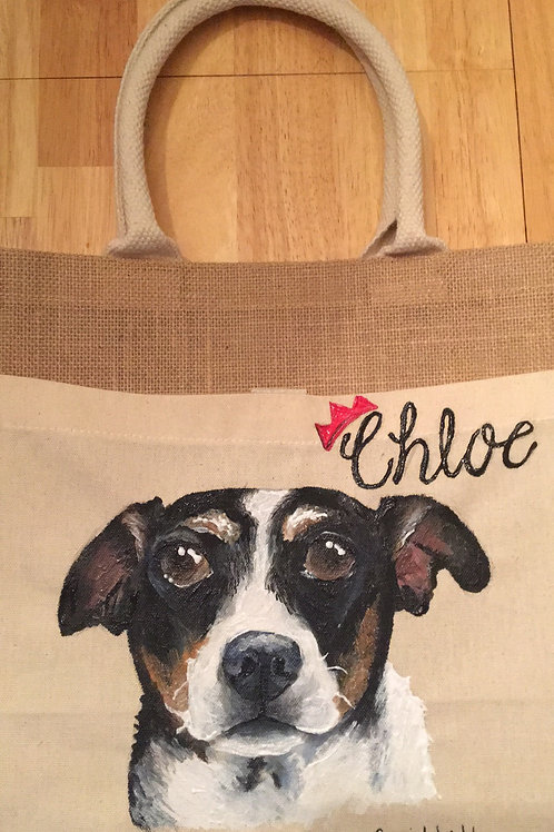 One pet on tote bag