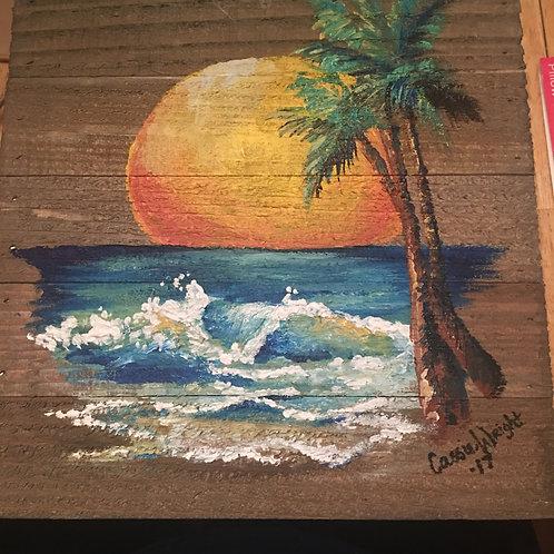 "10""x10"" wood panel beach"