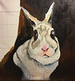rabbit, portrait, painted, hand, cassie, wright, custom, personalized, acrylic, oil