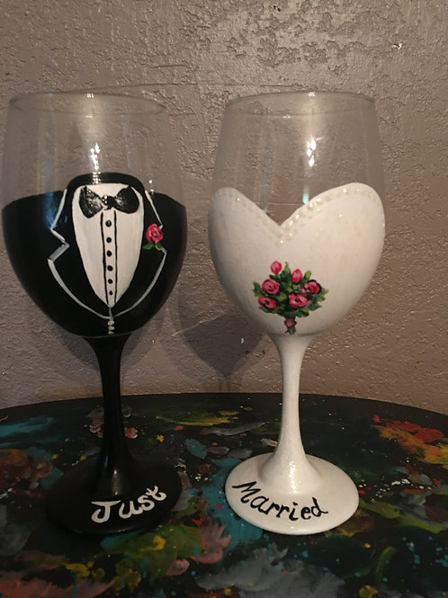 Bride and Groom wine glass. Sold together