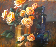 Still, Life, Rose, Painting, Oil, acrylic. personalized