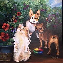Pet/Portrait Artist, personalized, custom, picture, paint, dog, cat, flowers, Cassie, Wright