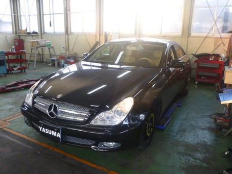 メルセデス・ベンツ CLS350 タイヤ交換 コンチネンタル スポーツコンタクト3 パンク スペアタイヤ交換 群馬 館林 BENZ Mercedes W219 225/40R18