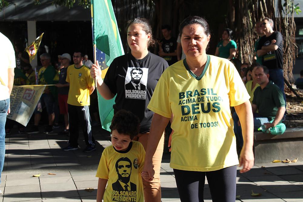 Ato pró-Bolsonaro no centro de Santa Maria, dia 21 de outubro