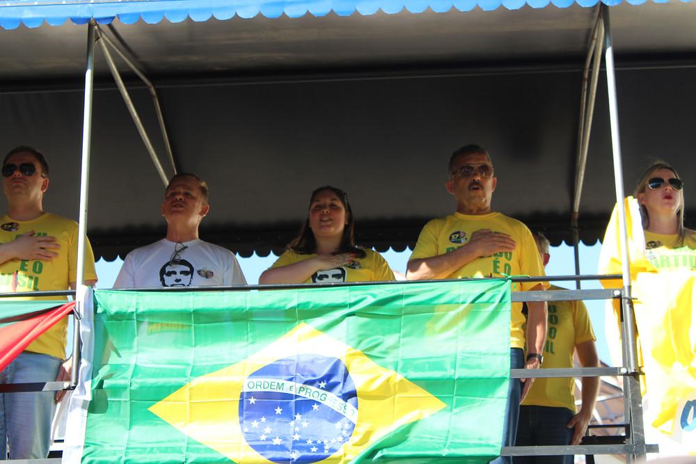 Ato pró-Bolsonaro no centro de Santa Maria, no dia 21 de outubro