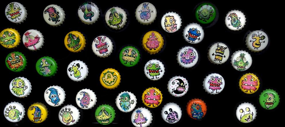 Monster Magnete aus Kronkorken