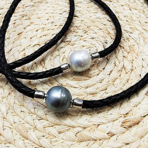 Perle de Tahiti sur cuir ou Australie