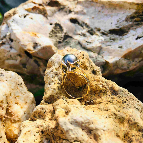 bague perle de Tahiti or 750/000 shamani creaperles