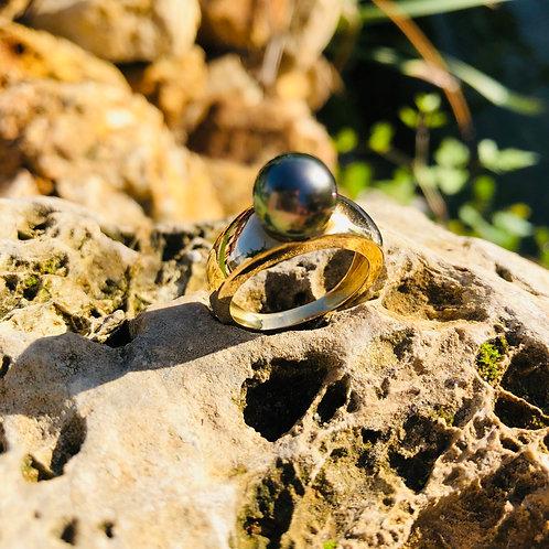 bague jonc perle de tahiti or jaune shamani creaperles