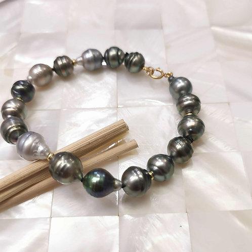 Bracelet perles de Tahiti cerclées 8/9mm