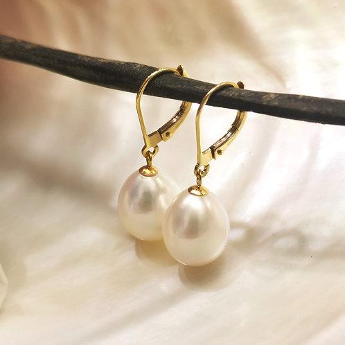 Boucles d'oreilles dormeuses or jaune perles poires