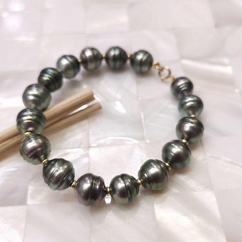 Bracelet perles de Tahiti cerclées 9/10mm
