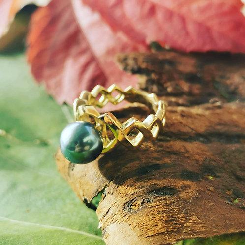 Bague perle de Tahiti shamani creaperles