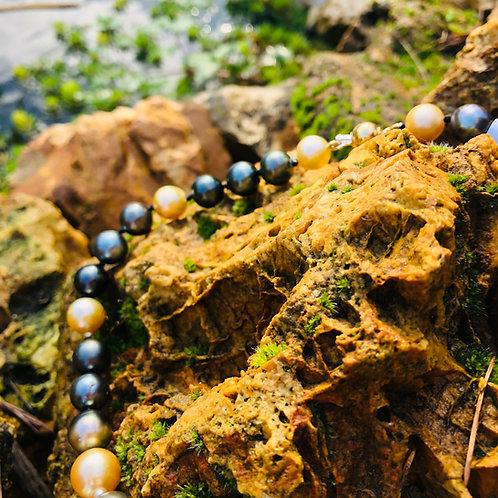 collier perles noires de tahiti australie gold shamani