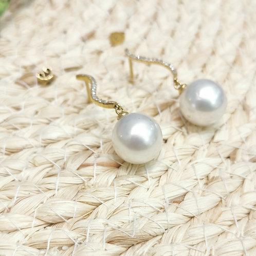 Boucles d'oreilles perles d'Australie blanches