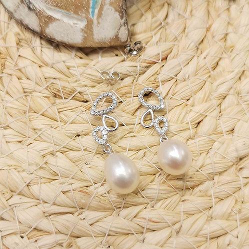 Boucles d'oreilles perles de culture blanches