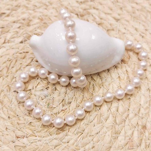 collier choker perles blanches