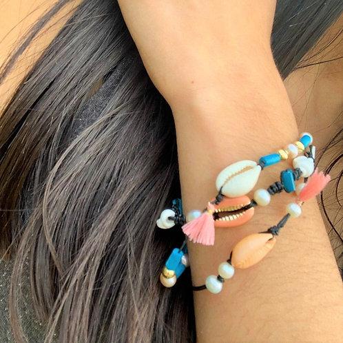 Bracelet cordon coquillage cauri et perles de culture | Shamani