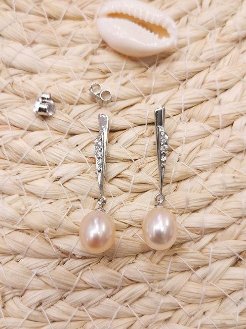 Boucles d'oreilles perles de culture pendantes