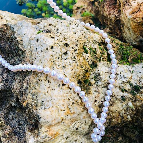 sautoir perles blanches
