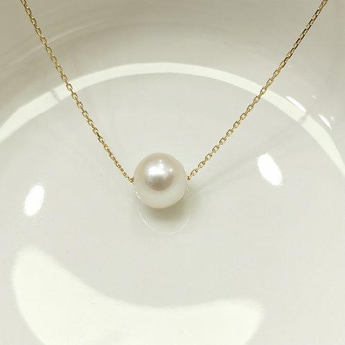 Collier perle de culture blanche sur chaine or jaune