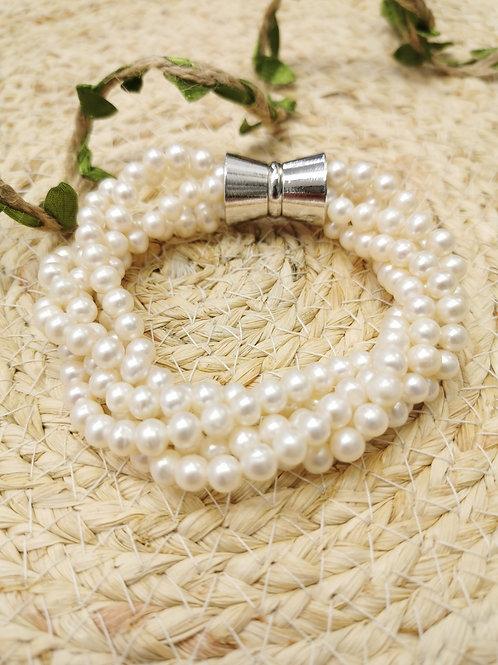 bracelet perles blanches de culture