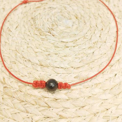 Collier cordon rouge perle de Tahiti
