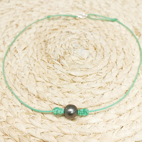 Collier cordon vert perle de Tahiti