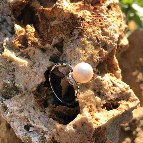 bague perle blanche or blanc shamani creaperles