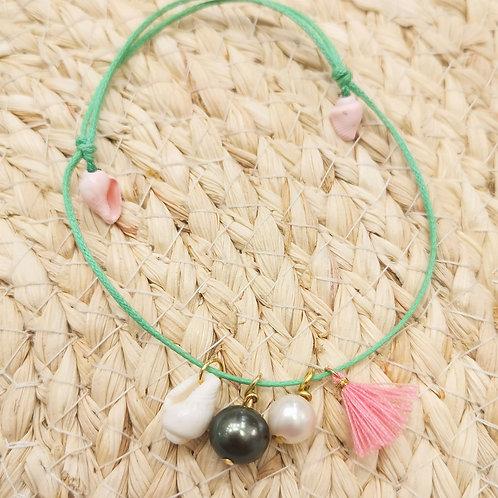 bracelet cordon perles et coquillages été shamani paris creaperles